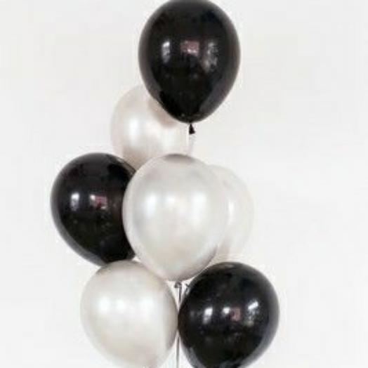 """Связка воздушных шаров""""черный-белый"""""""