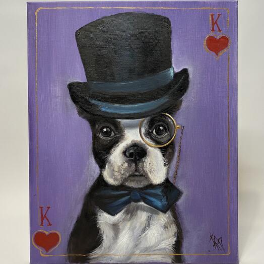 "Картина ""Собака-король"" 40*50 см. масло, холст"