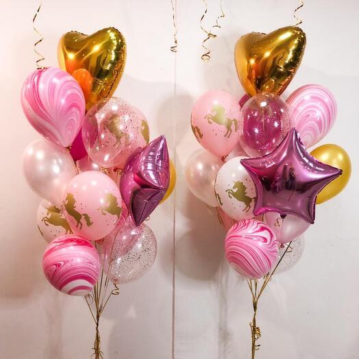 Фонтан розовый с агатами и единорожками