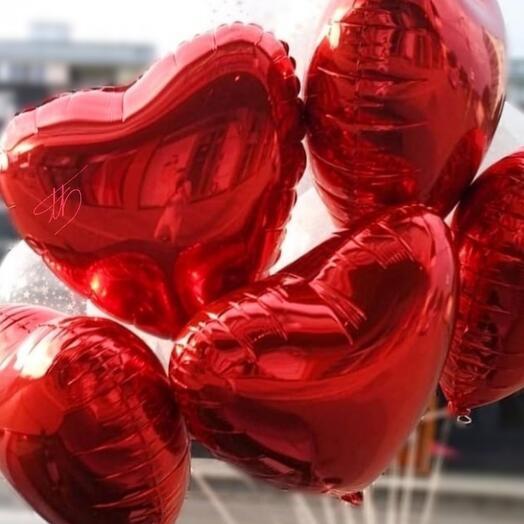 Связка шаров Горячие сердца