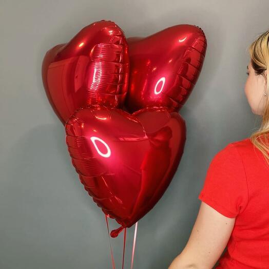 3 фольгированных сердца