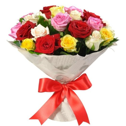 Букет из 25 разноцветных роз: букеты цветов на заказ Flowwow