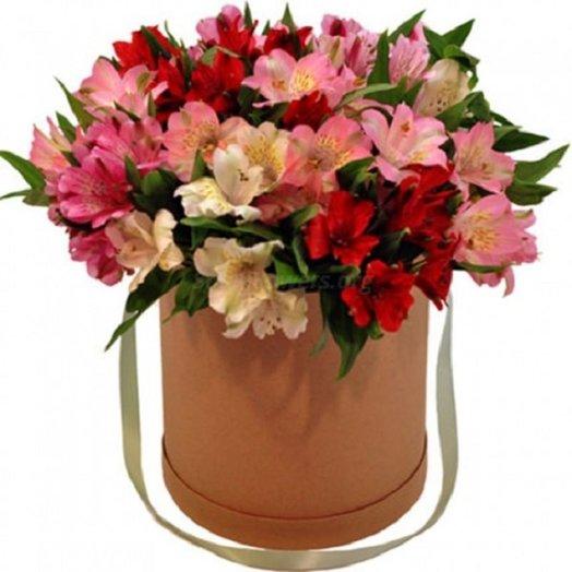 Коробочка с альстромериями: букеты цветов на заказ Flowwow