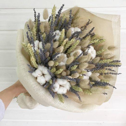 Букетик сухоцветов и хлопка: букеты цветов на заказ Flowwow