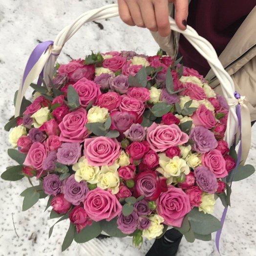 "Большая корзина роз ""Магия"": букеты цветов на заказ Flowwow"