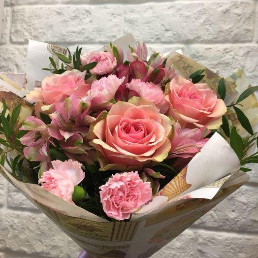 Букет розы и альстромерии: букеты цветов на заказ Flowwow