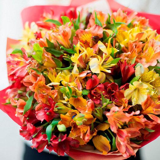 Большой букет разноцветной альстромерии: букеты цветов на заказ Flowwow