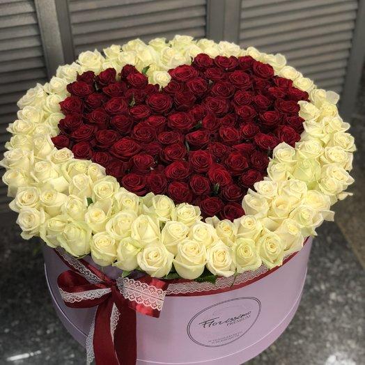 175 роз в шляпной коробке: букеты цветов на заказ Flowwow