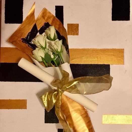 Букет с картиной: букеты цветов на заказ Flowwow