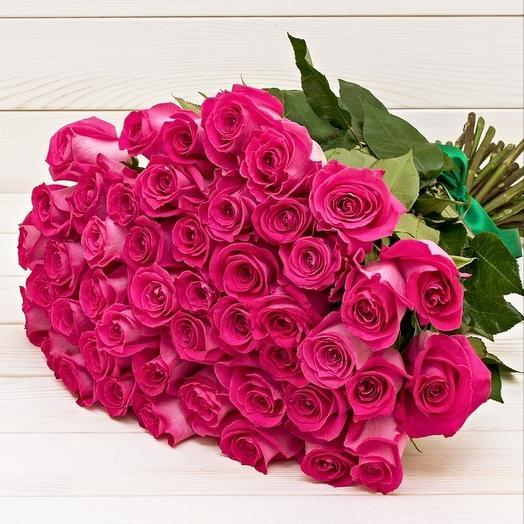 50 розовых роз: букеты цветов на заказ Flowwow