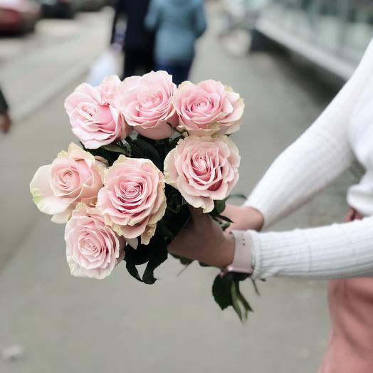 Роза Пинк Мондиаль премиум 7: букеты цветов на заказ Flowwow