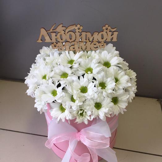 Шляпная коробка с хризантемой Бакарди
