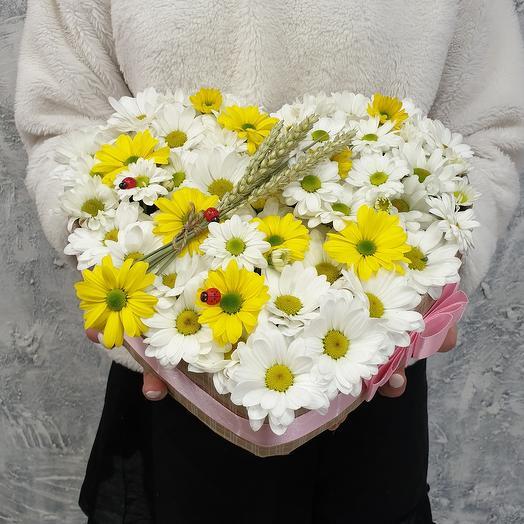 Композиция сердце Воспоминание о лете: букеты цветов на заказ Flowwow
