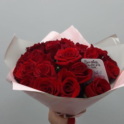 Нежный классический букет из красных роз: букеты цветов на заказ Flowwow
