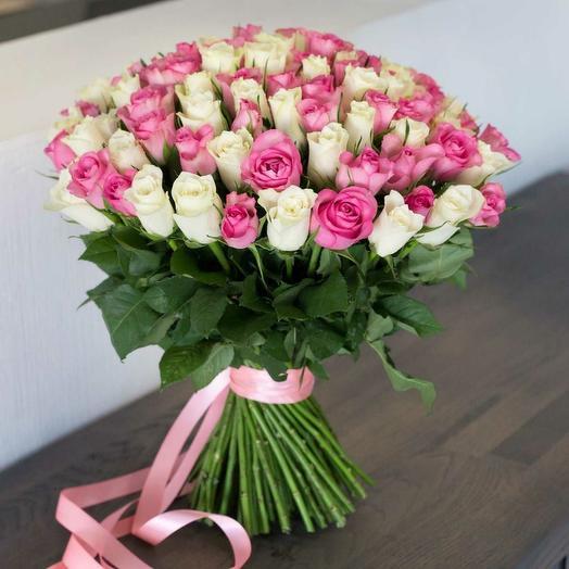 101 роза белая и розовая