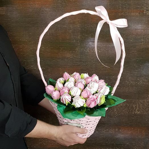 Зефирные тюльпаны в розовой корзинке
