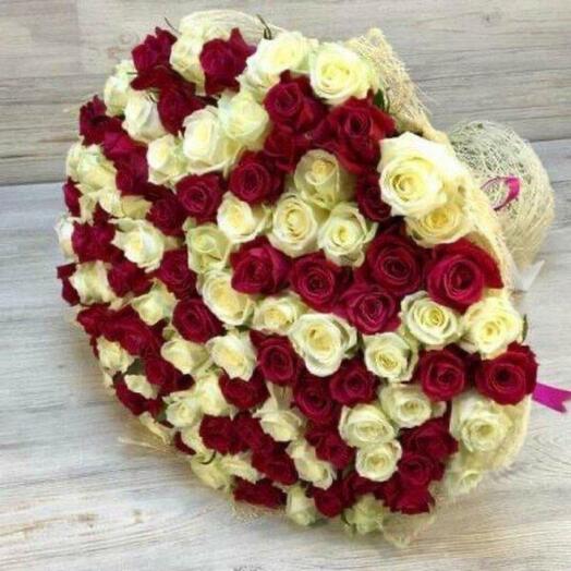 101 Роза Эквадор микс 70 см