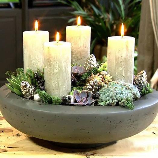 Рождественская композиция «Бенгальские свечи»: букеты цветов на заказ Flowwow