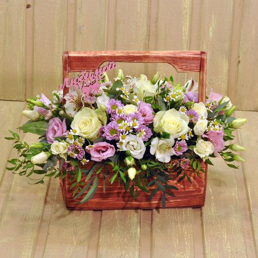 Деревянный ящик Счастье: букеты цветов на заказ Flowwow