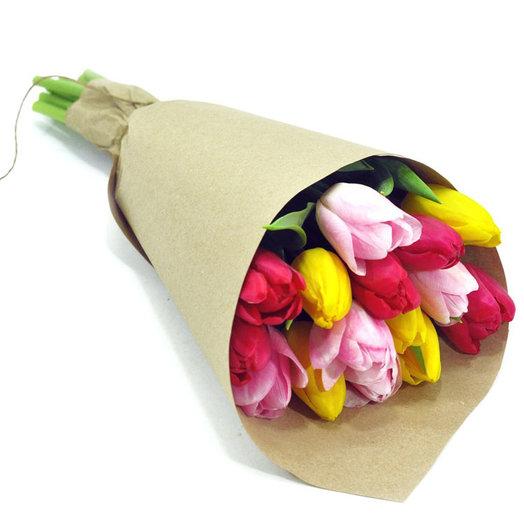 Букет из 15 тюльпанов ассорти : букеты цветов на заказ Flowwow