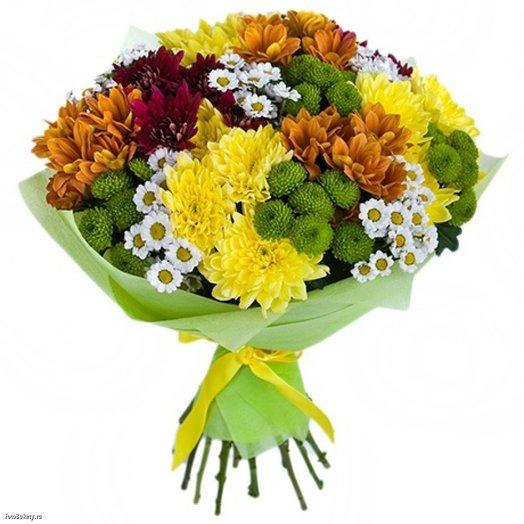 Охапка  Солнечных  кустовых  хризантем: букеты цветов на заказ Flowwow