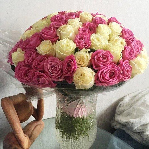 101 Розовая-Белая Роза от Floristic World.