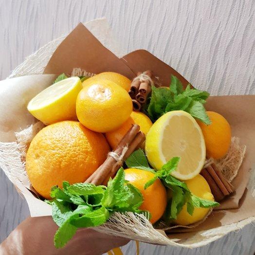 Цитрусовый букет . лимон, апельсин, мята, мандарин: букеты цветов на заказ Flowwow
