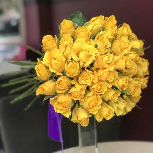 Букет из 35 желтых роз 50 см: букеты цветов на заказ Flowwow