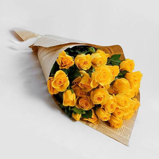 Солнечные кустовые розочки: букеты цветов на заказ Flowwow