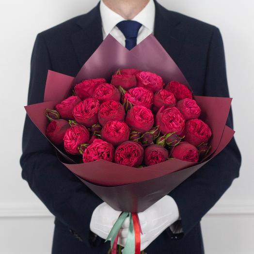 Букет из 21 кустовой розы Red Piano: букеты цветов на заказ Flowwow