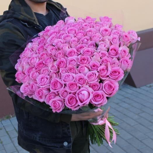 Букет 101 розовая роза: букеты цветов на заказ Flowwow