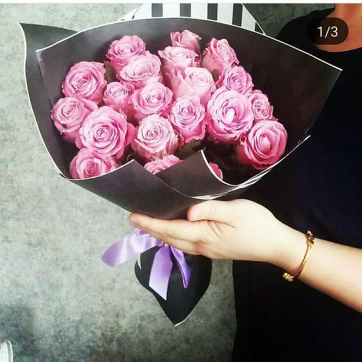 Букет из 19 сиреневых роз: букеты цветов на заказ Flowwow