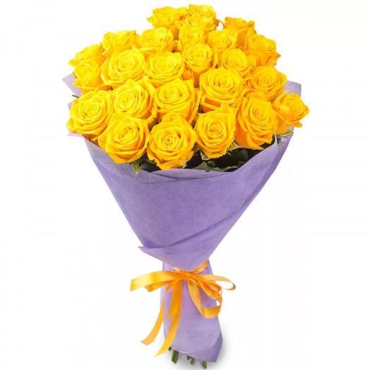 """Букет из 29 желтых роз """"Закат солнца"""": букеты цветов на заказ Flowwow"""