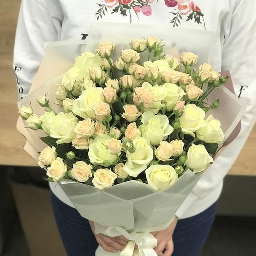 Кустовые розы. монобукет. N384