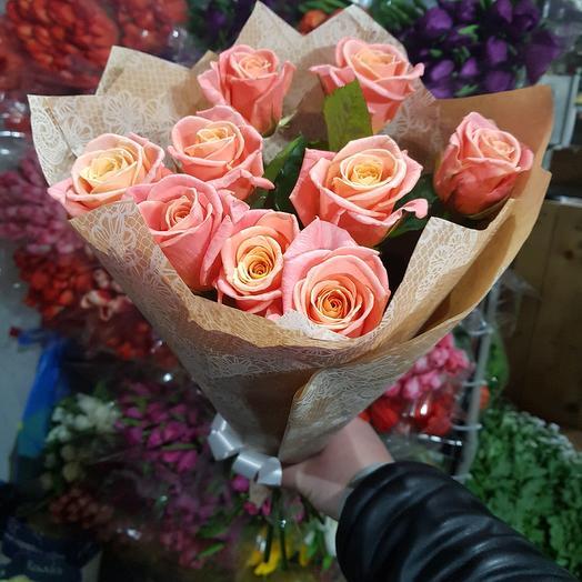 Букет из 9 роз мисс-пигги: букеты цветов на заказ Flowwow