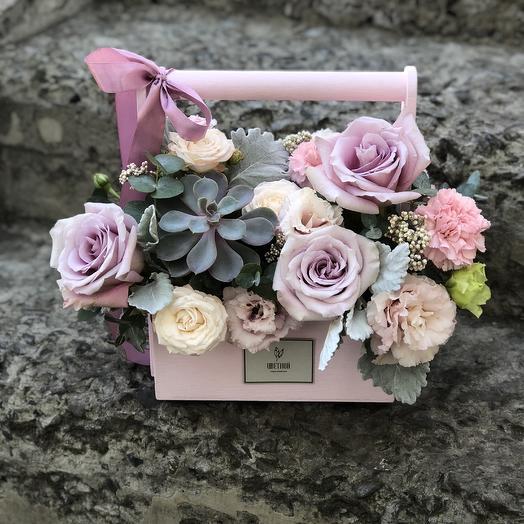 Ящик деревянный 0019: букеты цветов на заказ Flowwow