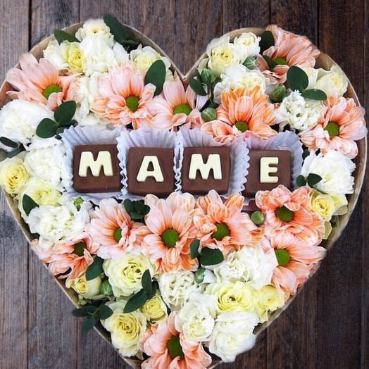 Цветы с шоколадными буквами