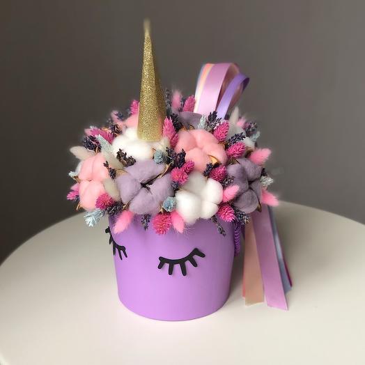 Единорог Цветы в коробке