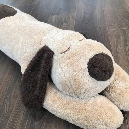Махровый пёсик-подушка бежевый 125 см