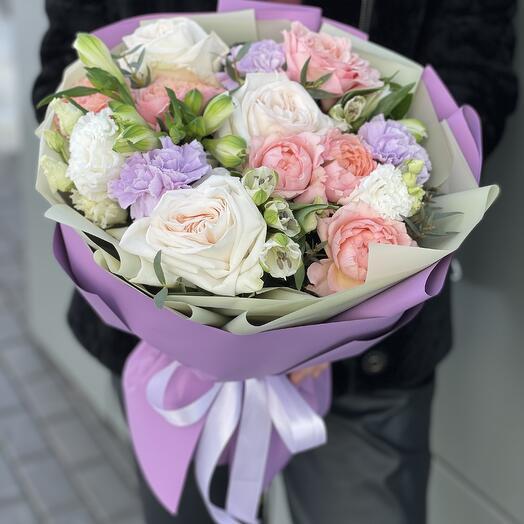 Aurum bouquet of eustoma, roses, alstroemeria and dianthus
