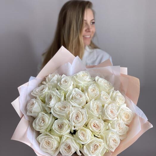 Монобукет Пионовидных Роз «Вайт О Хара» (25шт)