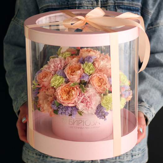 Прозрачный цилиндр с цветами: букеты цветов на заказ Flowwow