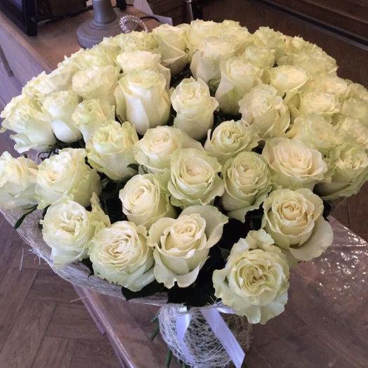 """Большой букет из роз """"51 белая роза"""""""