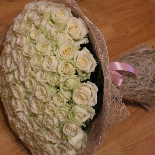 Their bouquet of 101 white roses