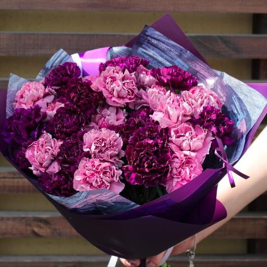 23 гвоздики фиолетово-сиреневых оттенков: букеты цветов на заказ Flowwow