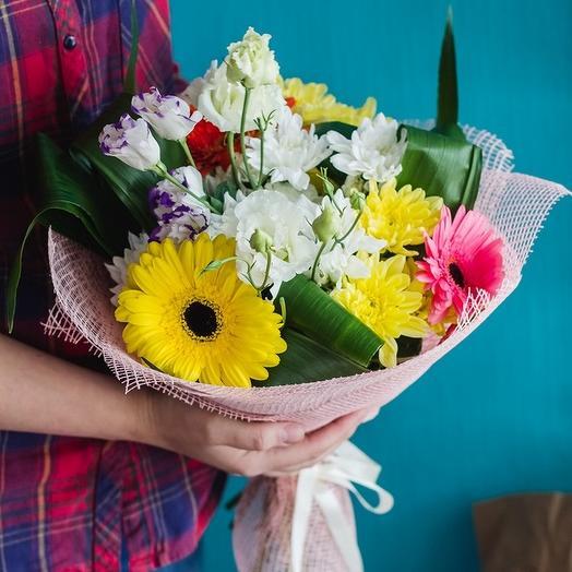 Букет из гербер, хризантем и эустомы: букеты цветов на заказ Flowwow