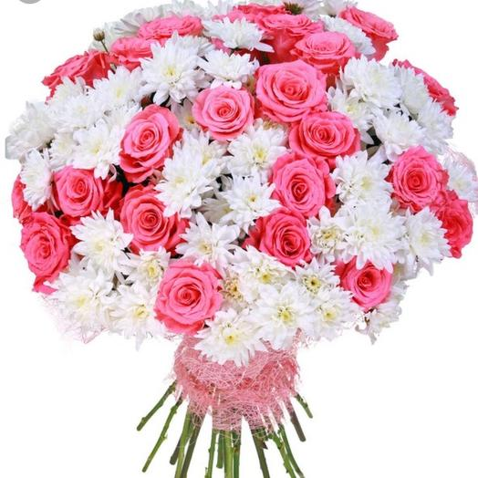 Букет из роз с хризантемой: букеты цветов на заказ Flowwow