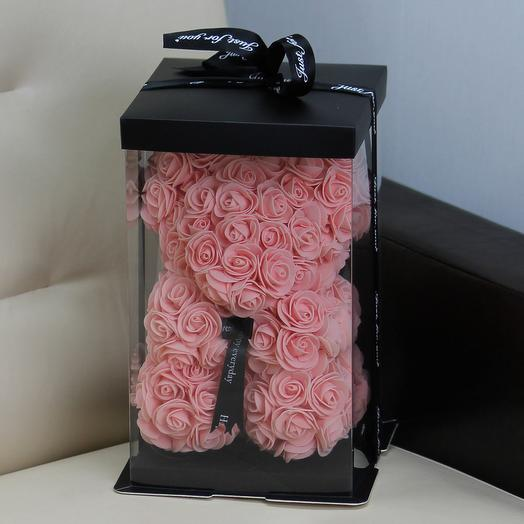 Мишка из роз «Персик»: букеты цветов на заказ Flowwow