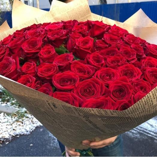 101 красная роза в крафте: букеты цветов на заказ Flowwow