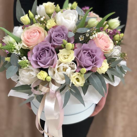 Нежная цветочная композиция в пастельных тонах: букеты цветов на заказ Flowwow